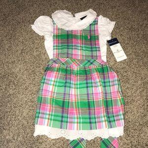 Baby girls jumper dress with collared onesie